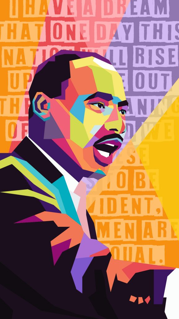 Martin Luther King Jr. Colorful Vector Mosaic Poster Design