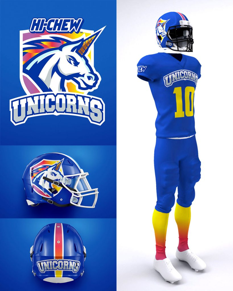 hi-chew unicorns football uniform design tyler oslie
