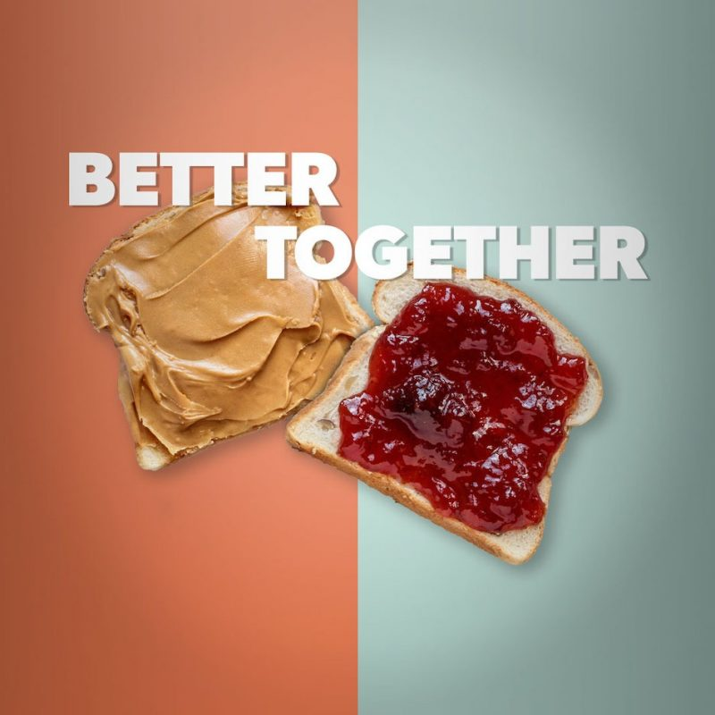 Two slices of bread, one with peanut butter and another with jelly, with the words Better Together overlaying them